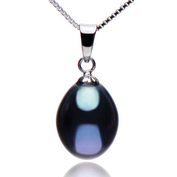 925 Sterling Silver Women Chain Pendant Necklaces with 9-10mm Freshwater Black Pearls Necklaces & Pendants Fine Jewelry