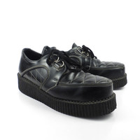 Tuk Creeper Shoes Vintage 1990s Made in England Black Leather men's size 11