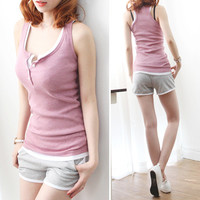 women new cotton vest sexy slim sleeve T shirt plus size S-3XL fitness feminina workout tank top buttons bust T588