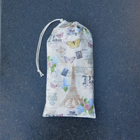 Pointe Shoe Bag, Paris. Breathable cotton & mesh dance shoe bag.
