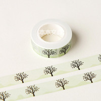 JG306 1.5CM Wide Fresh Style Tree Pattern Washi Tape DIY Scrapbooking Sticker Label Masking Tape School Office Supply