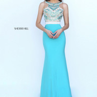 Sherri Hill 50396 Beaded Fitted High Neck Jersey Dress