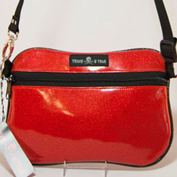 Roller Derby Red Sparkle Glitter Vinyl Fanny Pack/Hip Bag With After Dark Liner