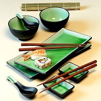 11 Piece Green Japanese Dinnerware Set w/ Sushi Mat Green