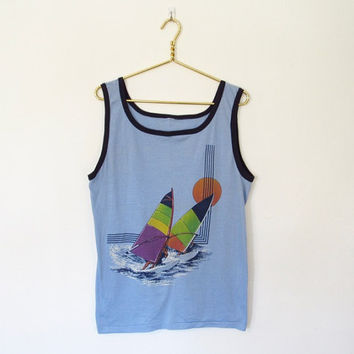 Men's Vintage 1980s Ribbed Tank Top / Light Blue w/ Wind Sailing Print / Sleeveless Shirt