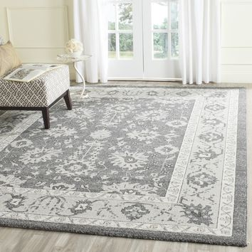 Safavieh Carmel Dark Grey/ Beige Cotton Rug (8' x 10') | Overstock.com Shopping - The Best Deals on 7x9 - 10x14 Rugs