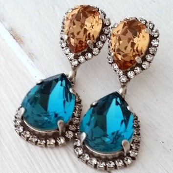 Teal and topaz crystal earrings, Dark teal and smokey brown Chandelier earrings,Bridal earring,Dangle earring,Drop earring,Swarovski earring
