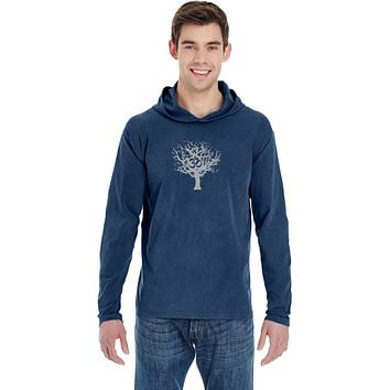 Yoga Clothing For You Grey Tree of Life Heavyweight Pigment Hoodie Yoga Tee