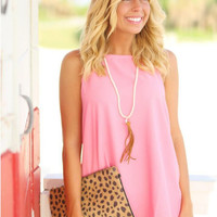 Pink Halter Back Cut Out Strap Blouse