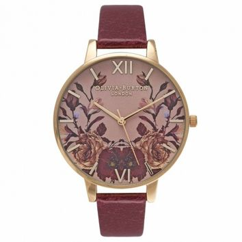 Olivia Burton Winter Garden Mirror Floral Burgundy and Gold OB14WG02