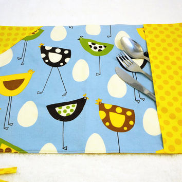 Deluxe lunch placemat, travel placemat, roll up placemat with ustensil section, cloth placemat, cotton placemat, blue yellow hens dots
