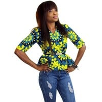 Women's Ankara Three Quarter Peplum Top