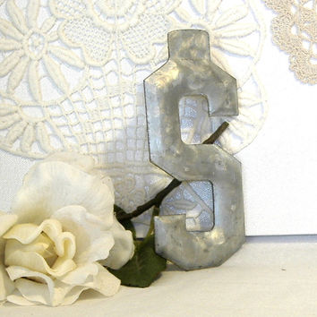 Vintage Industrial Marquee Letter S c1900 Unused Mint Condition Metal 5 Inch Architectural Initial Font Urban Salvage
