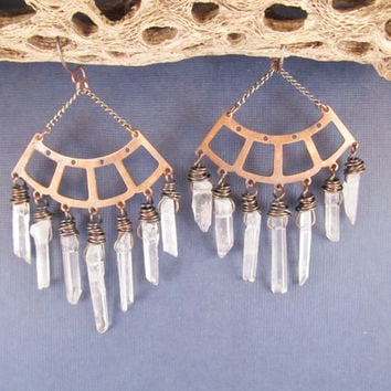 Fringe Earrings, Quartz Crystal Earrings, Large Statement Earrings, Urban Gypsy