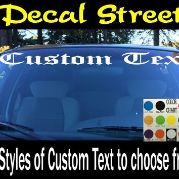 Custom Windshield Visor Decals 15 fonts to Choose from!
