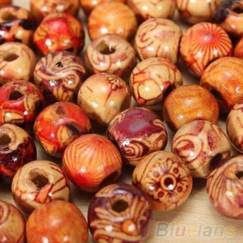 100pcs 10mm Mixed Wood Round Beads Jewelry Making Loose Spacer Charms Findings  1P94