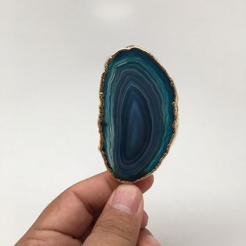 169 cts Blue Agate Druzy Slice Geode Pendant Gold Plated From Brazil, Bp1053