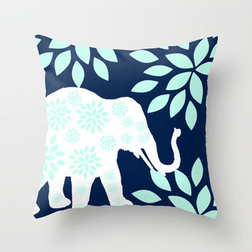 "READY TO SHIP Elephant Pillow Cover Elephant Decor Navy White Aqua sky Home Decor 16""x16"" Christmas Gift"