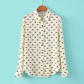 Stylish Women's Fashion Cotton Print Blouse [6513879623]
