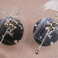 Black mother of pearl earrings Black disc earrings Mother of pearl disc dangles Large black earrings Big black dangles Statement earrings