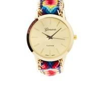Multi Woven Friendship Bracelet Watch by Charlotte Russe
