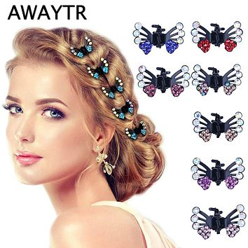 AWAYTR 6 Pcs/Lot Hair Clips for Women Fashion Girls Hair Accessories 2019 Kids Crystal Butterfly Pins Hair Claws