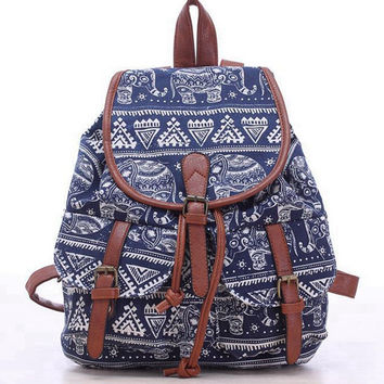 bookbags for School Drawstring Bag Animal Designer back packs Elephant Printing Backpacks Canvas Rucksack Female Travel L834
