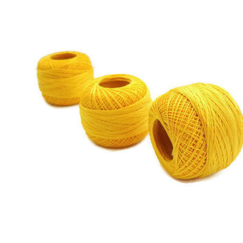 coton yarn 3 balls, fine crochet,50 number,100% mercerized Egyptian cotton,yellow,One ball's weight is 20gr