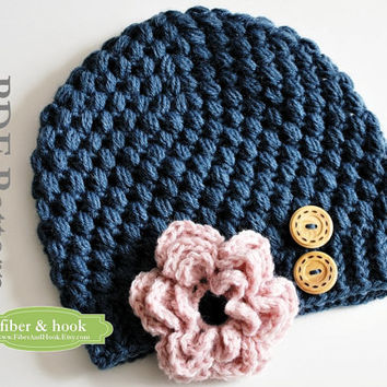CROCHET PATTERN - Crochet Little Puffs Beanie with Detachable Flower (Newborn through Adult Sizes) PDF Download - Unisex (Pattern#014H)