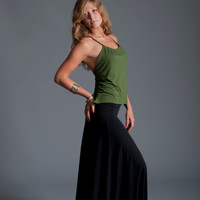 Ultra Maxi Skirt in Black or Olive Bamboo Jersey Knit / Foldover Waistband / Made to Order
