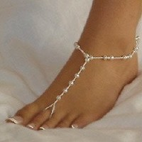 Fashion Jewelry ~Pair White Faux Pearls w Clear Seed Beads Barefoot Sandals Beach Anklets (TS114 Ali)