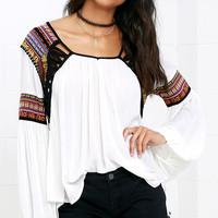 Friendship Bracelet Ivory Embroidered Long Sleeve Top