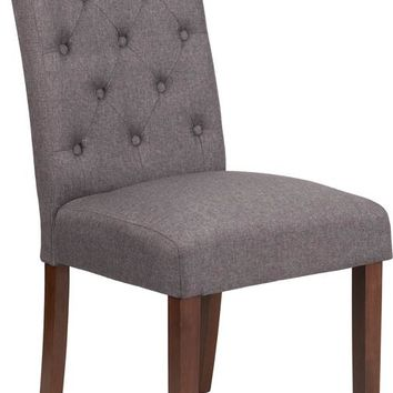 HERCULES Grove Park Series Gray Fabric Tufted Parsons Chair [QY-A18-9325-GY-GG]