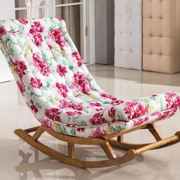 Floral Print Fabric Relax Rocking Chair