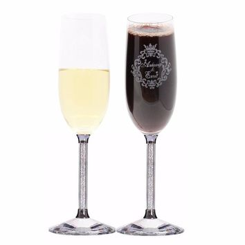 KEYTREND Personalized Toasting Glasses Set of 2 Bride and Groom Flutes