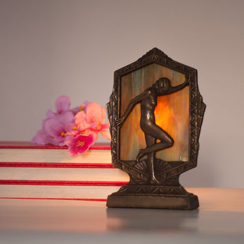Art Deco Lamp, Vintage Art Deco Style Female Nude Boudoir Lamp, Metal & Colorful Glass, Lady Brass Table Lamp Bedroom Decor Lightning