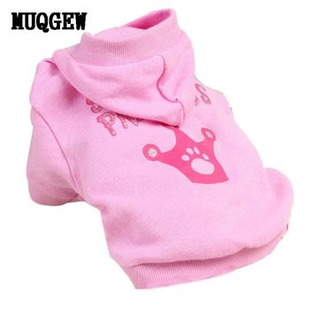 MUQGEW New Pink Pet Dog Clothes Crown Pattern Puppy Clothing Coat Hooded Cotton T Shirt Tactical Vest Coats