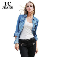 TC Plus Size Denim Shirt Women Clothing Nostalgic Gradient Jeans Shirt  Vintage Womens Camisa Jeans Blusas Feminina Blouse