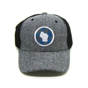 Wisconsin Trucker  Herringbone Trucker Hat - Teal Buffalo Check Patch