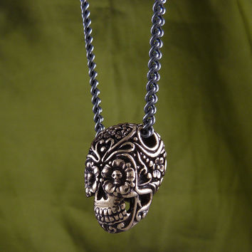 "Sugar Skull Necklace Bronze Day of the Dead Pendant on 32"" Gunmetal Chain"