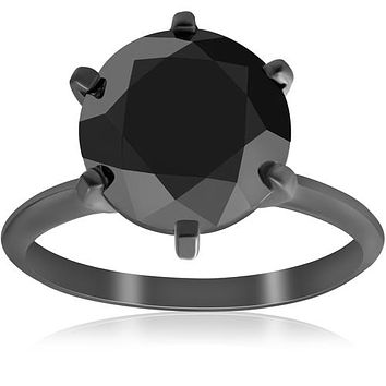 A Sophisticated 14K Black Gold Ethically Mined 5.6CT Round Cut Fancy Black Diamond Solitaire Ring