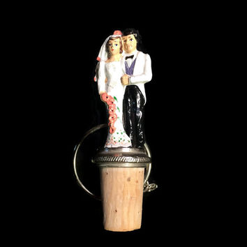 Vintage Bride & Groom Bottle Stopper
