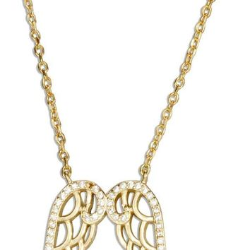 """STERLING SILVER 16""""-17"""" ADJUSTABLE YELLOW GOLD TONE ANGEL WING NECKLACE WITH CUBIC ZIRCONIAS"""