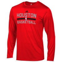 adidas Houston Rockets Youth On-Court Long Sleeve Performance T-Shirt - Red