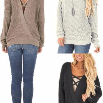 Deep V-Neck Knitted Sweater
