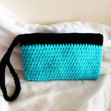 FREE SHIPPING. Turquoise Blue Crocheted Wristlet, Pouch. Gift Ideas,Christmas, Valentine's Day, Mother's Day