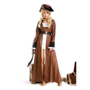 Halloween Sexy Lingerie Underwear Game Uniform Long Leather Pirate Costume M