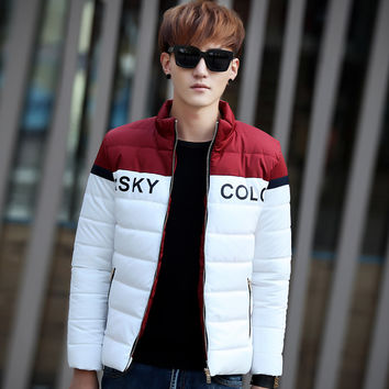 2016  Winter Men Fashion Down Jacket Trend Upset Warm  With Zipper Pocket Short Coat  Big Size M-3XL