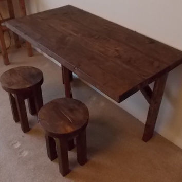 Rustic Space Saving Dining Table and 2 Matching Stools 027