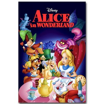 Alice In Wonderland Art Silk Fabric Poster Print 13x20 24x36inch Movie Cartoon Pictures for Children Room Wall Decoration 002